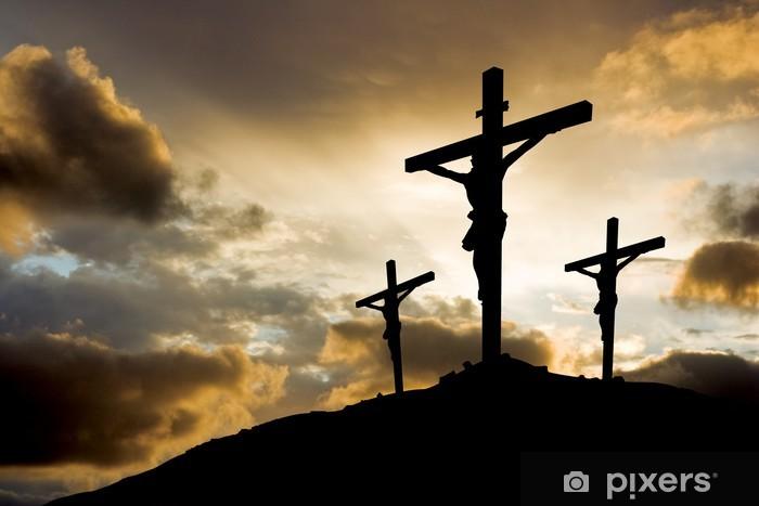 Pixerstick-klistremerke Tre kryss ved solnedgang - Easter