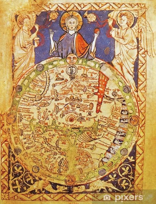 Sticker Pixerstick Carte médiévale avec Jérusalem comme centre du monde - Art et création