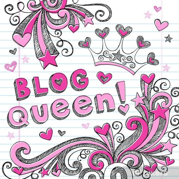 Fototapeta winylowa Blog Królowa Tiara Sketchy Doodles Design Elements wektorowe - Znaki i symbole