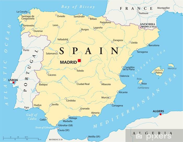 Papier peint lavable Espagne carte - Thèmes