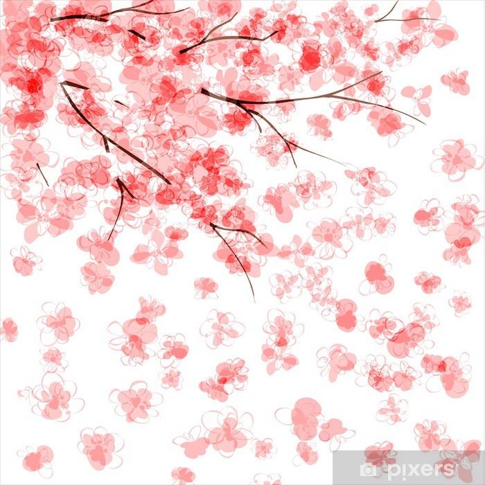 Papier peint lavable Arrière-plan avec la floraison de cerisier japonais - Thèmes
