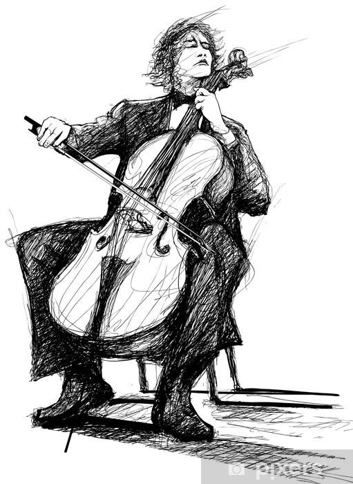 Vinyl Fotobehang Cellist - Muziek