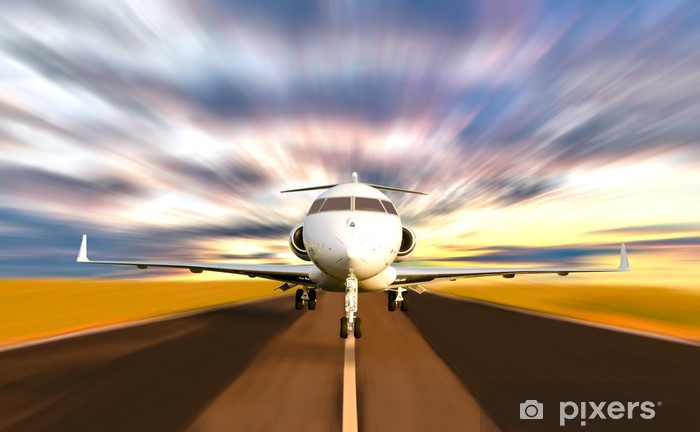 Private Jet Plane Taking off with Motion Blur Vinyl Wall Mural - Themes