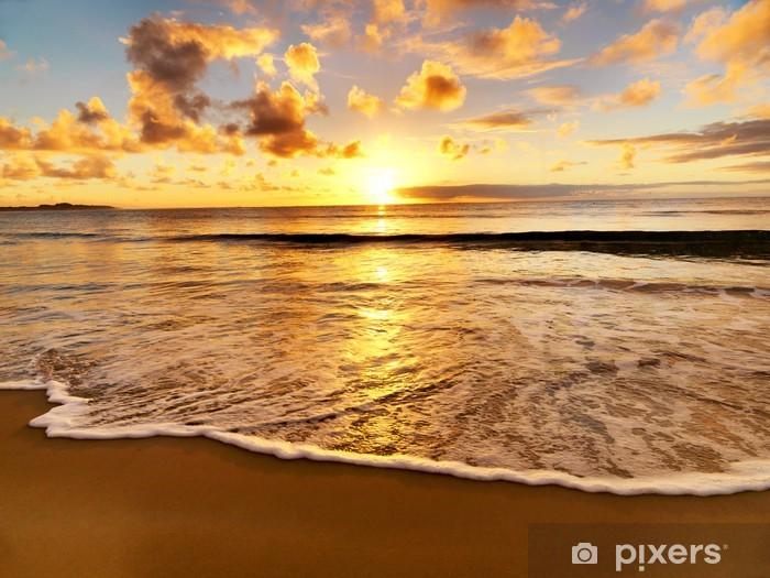 Vinyl Fotobehang Prachtige zonsondergang op het strand - Thema's