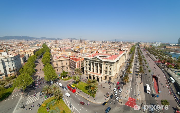 Papier peint vinyle Vue de dessus de Barcelone - Villes européennes