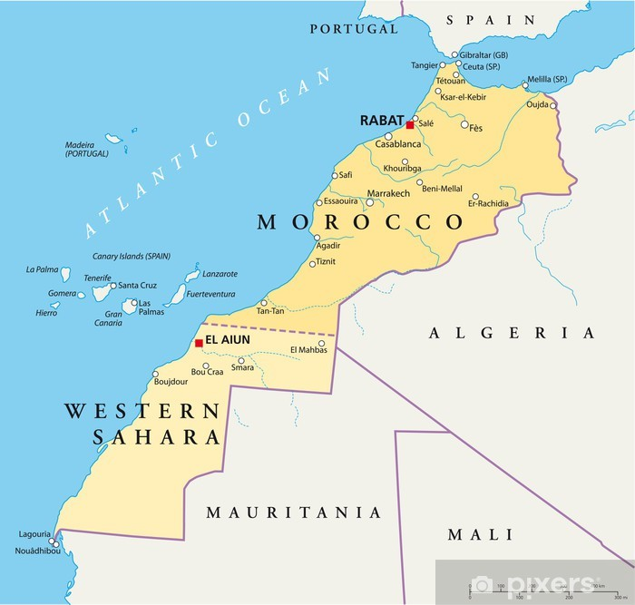 Morocco and Western Sahara Map Vinyl Wall Mural - Themes