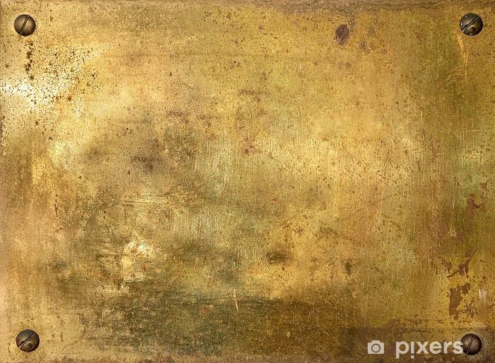 Fototapeta winylowa Błyszczący mosiądz blachy ze śrubami -