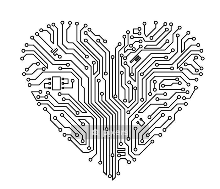computer heart wall decal  u2022 pixers u00ae  u2022 we live to change