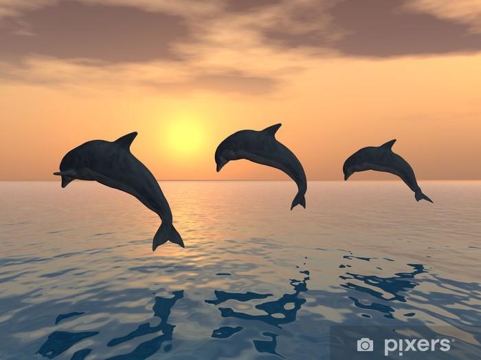 Papier peint vinyle Les dauphins sautant - Thèmes