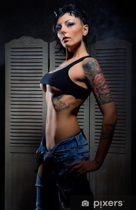Beautiful woman with many tattoos posing indoors Vinyl Wall Mural - Tattoos