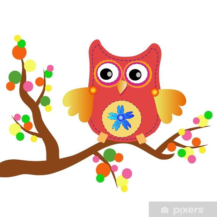 Plakat Mały słodki komunikat sowa - Tła