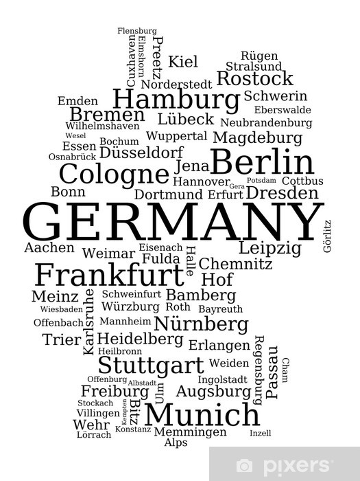 Erlangen Karte Deutschland.Aufkleber Deutschland Name Der Stadt Karte Pixerstick