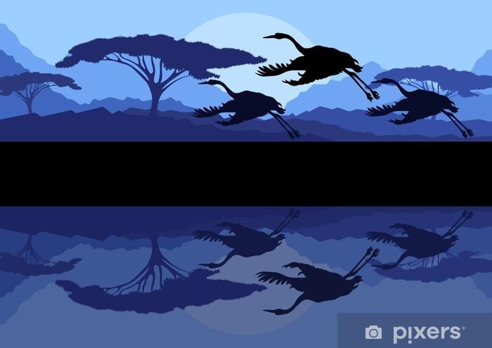 Nálepka Pixerstick Jeřáby létání v divoké horské přírody krajiny - Pozadí