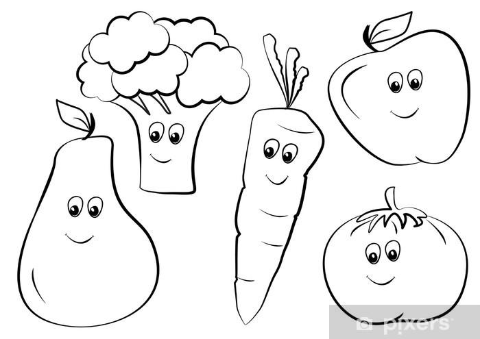 Owoce kolorowanka Pixerstick Sticker - Fruit