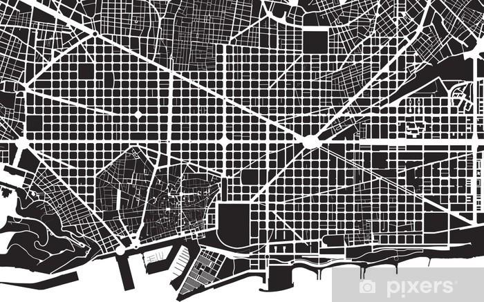 Barcelona black white city plan - street texture Vinyl Wall Mural - Themes