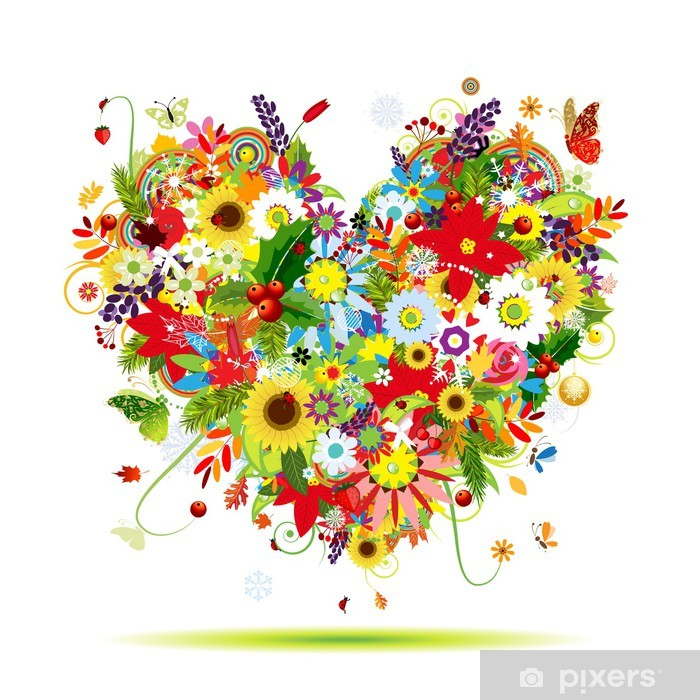 Four seasons. Art heart shape for your design Pixerstick Sticker -