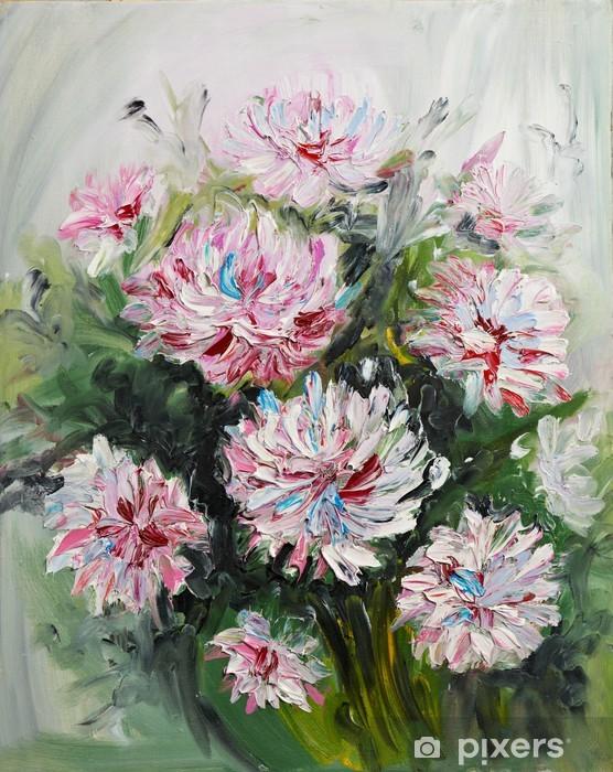 Papier peint vinyle Peinture à l'huile bouquet de fleurs de pivoine - Arrière plans