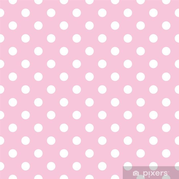Polka prikker på baby pink baggrund retro sømløs vektor mønster Vaskbare fototapet -