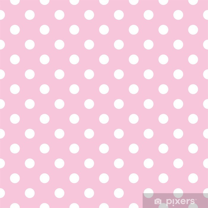 Polka dots on baby pink background retro seamless vector pattern Washable Wall Mural - Themes