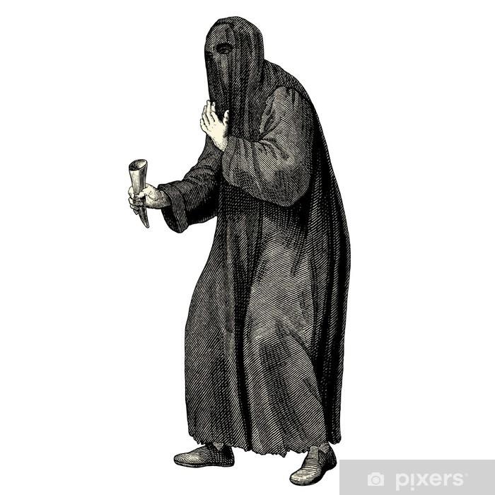 Sticker Pixerstick Mendiant de l'époque médiéval - Hommes
