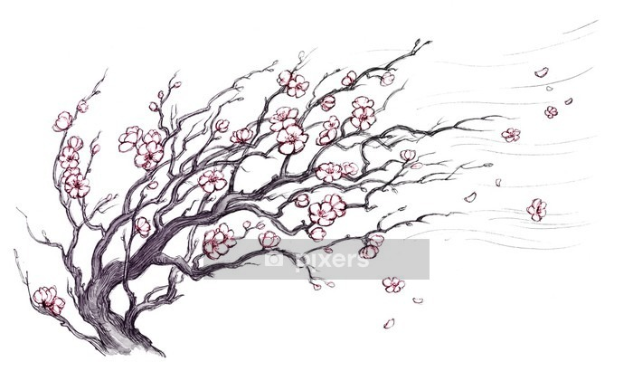 Japanese cherry tree Wall Decal - Themes