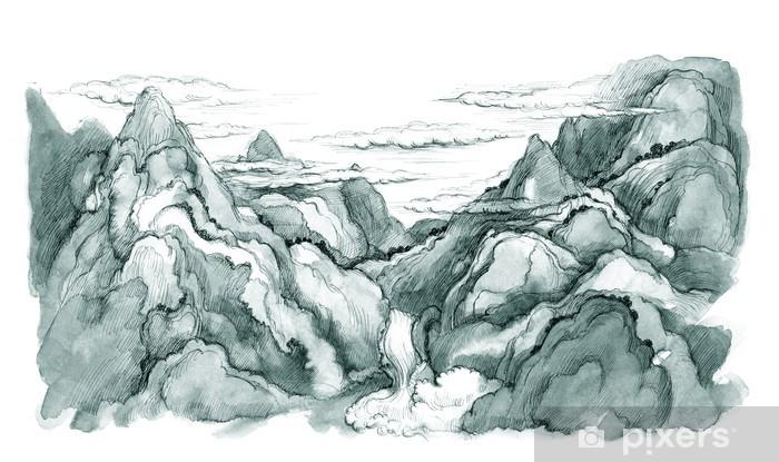 Naklejka Pixerstick Japanese mountains - Cuda natury
