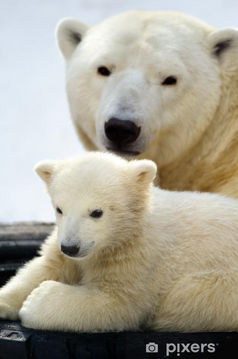Sticker Pixerstick Ourson polaire avec sa maman - Thèmes