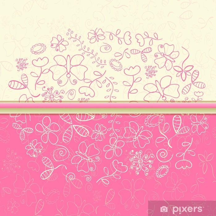 Carta Da Parati Rosa Biglietto Dauguri Con Fiori E Farfalle