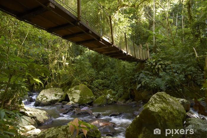 Vinyl Fotobehang Hangbrug in het regenwoud - Buitensport