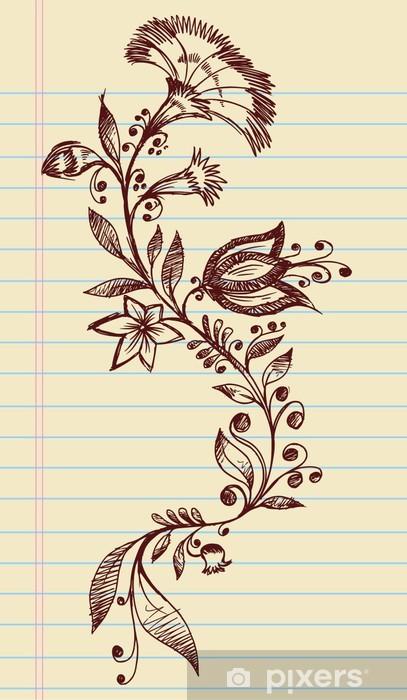 Sketch Doodle Henna Elegant Flowers and Vines Vector Pixerstick Sticker - Flowers