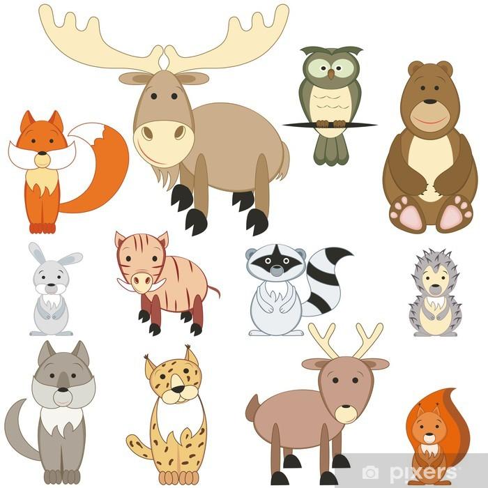 Sticker Pixerstick Animaux de la forêt mis en - Sticker mural