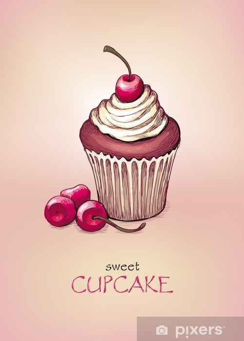 Cupcake with cherry Vinyl Wall Mural - Cafe