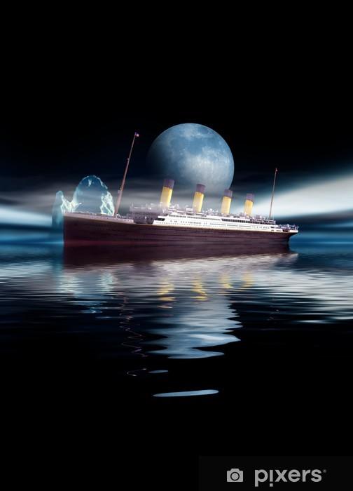 Fototapeta winylowa Żaglowiec Titanic w nocy z księżyca i Iceberg - Tematy