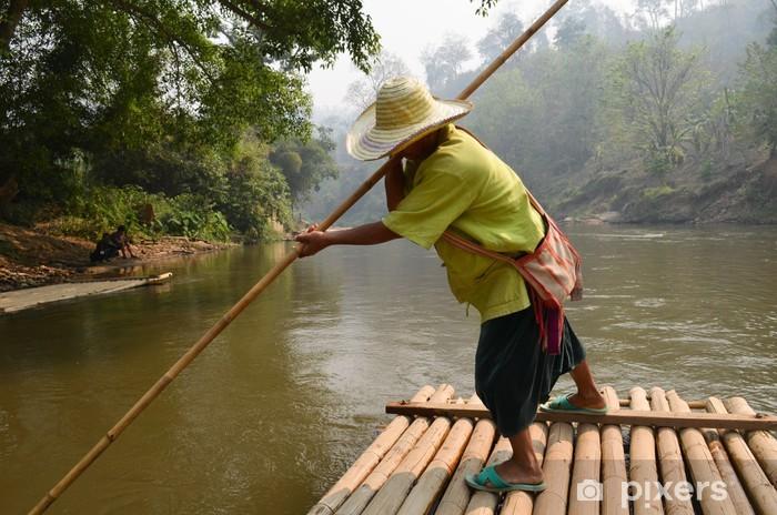 Naklejka Pixerstick Na tratwie w Tajlandii - Azja