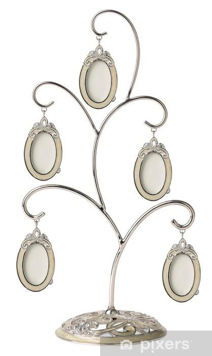 Fototapeta winylowa Srebrny drzewo genealogiczne rodziny z małymi owalne ramki samodzielnie - Znaki i symbole