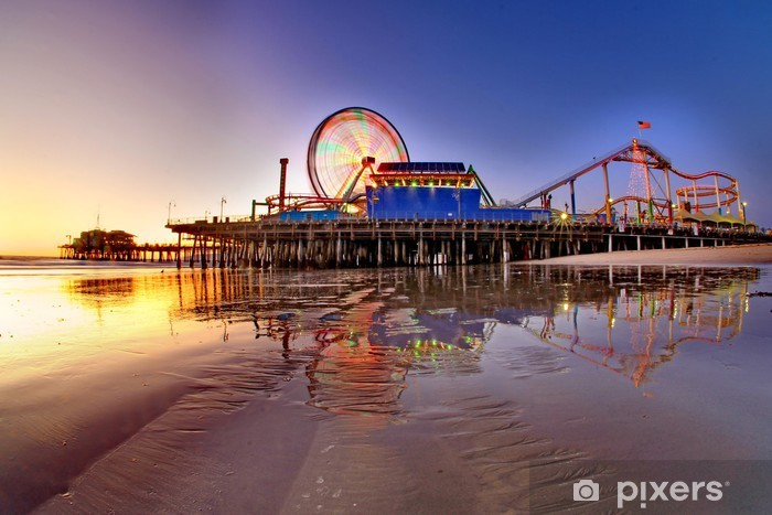 santa monica pier Pixerstick Sticker - Themes
