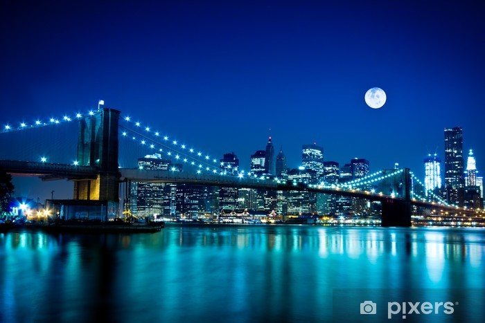 Night Scene Brooklyn Bridge and New York City Pixerstick Sticker -
