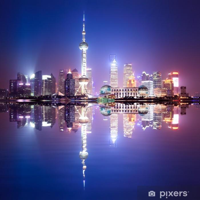 Fototapeta winylowa Shanghai skyline w nocy - Tematy