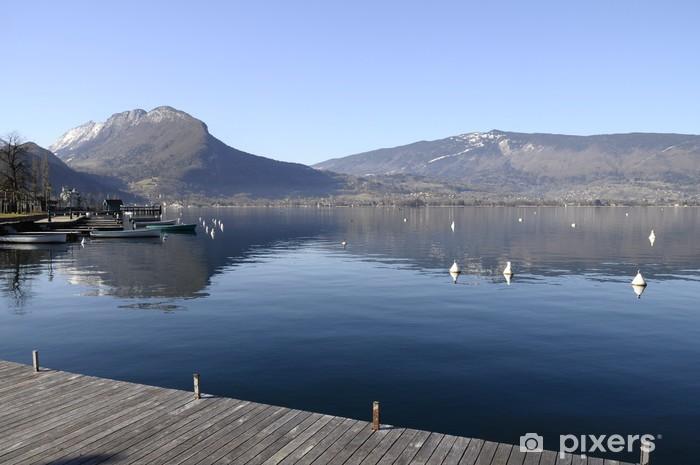 Pixerstick Sticker Annecy meer, bergen en reflectie in het water - Thema's