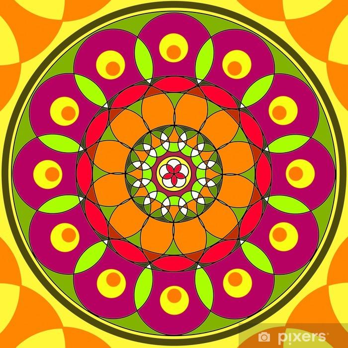 Vinyl-Fototapete Mandala Runde Ornament Blumenmuster Drawing - Religion