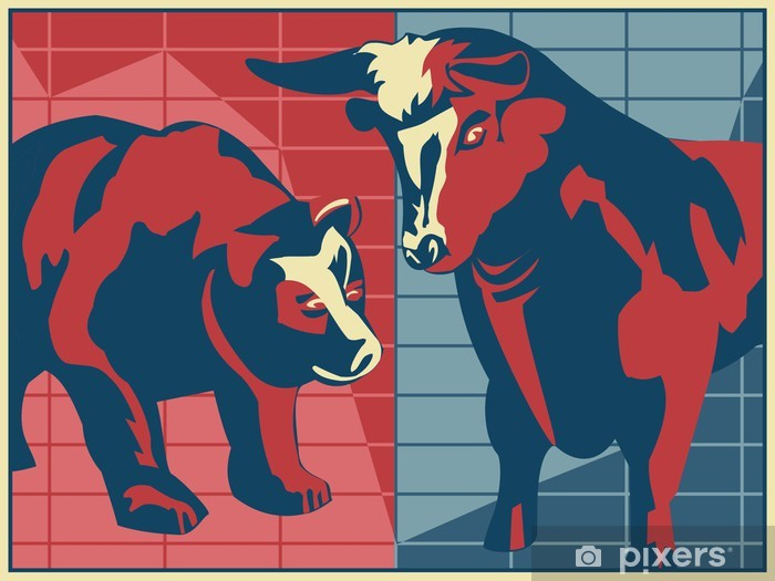 Bull and Bear - poster style Vinyl Wall Mural - Finance
