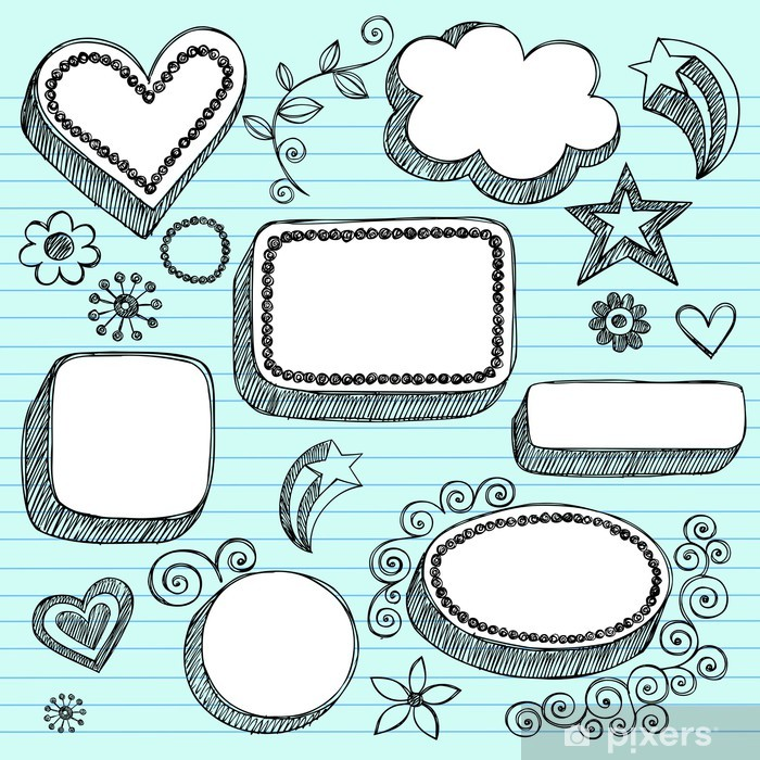 Naklejka Pixerstick Dymki i Frames Sketchy Grafika notebooka - Edukacja