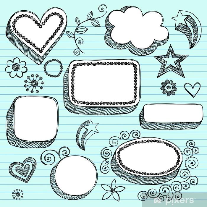 Papier peint vinyle Speech Bubbles et Cadres Sketchy Notebook Doodles Vector - Education