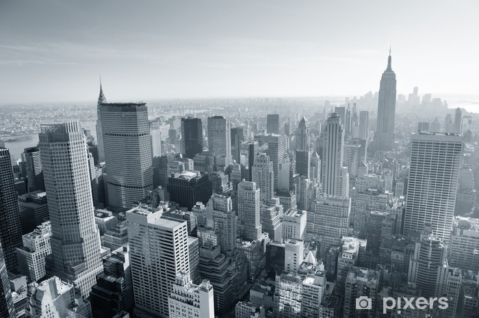 Papier peint vinyle New York City skyline noir et blanc -