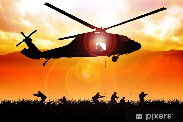 Helicopter is dropping the troops Vinyl Wall Mural - Themes