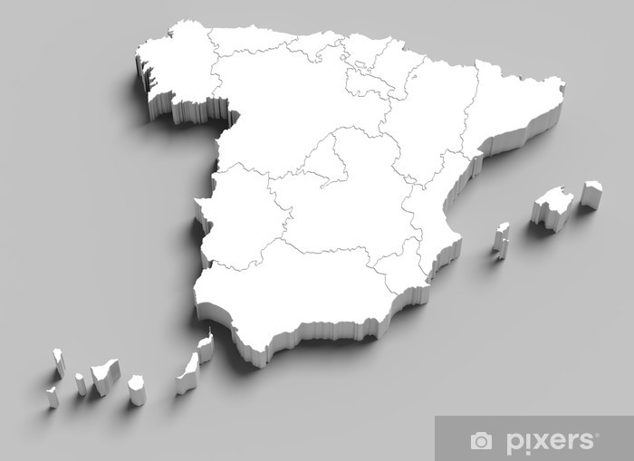 3d Map Of Spain.3d Spain White Map On Grey Wall Mural Vinyl