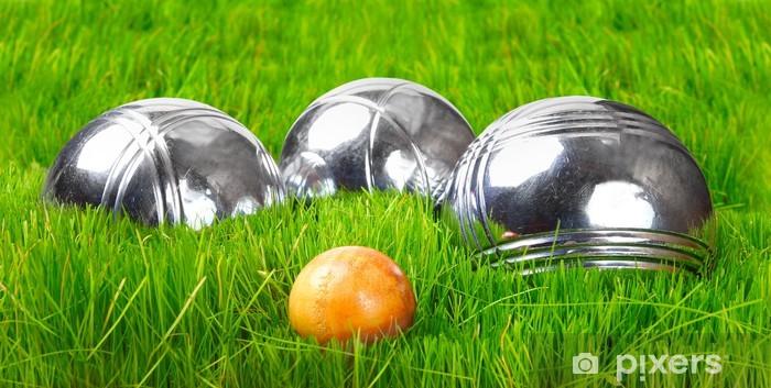 Papier peint vinyle Les boules de pétanque sur une herbe verte. - Jeux