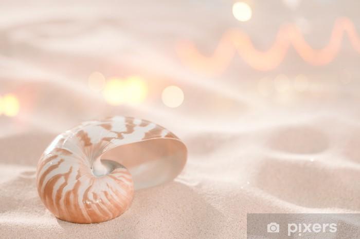 Fototapeta winylowa Nautilus powłoki na piasku na plaży i tropikalnych złotym światłem słonecznym z - Wakacje