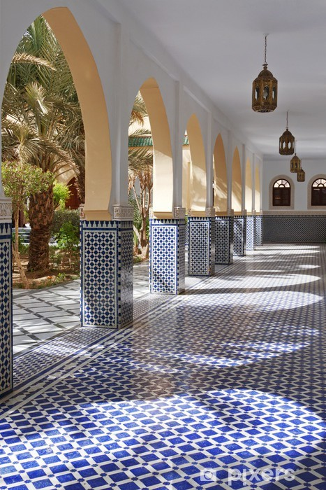 Courtyard with arches and tiles in Moroccan style in Rissani Vinyl Wall Mural - Africa