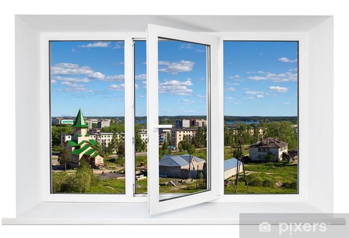 Fototapeta winylowa Biały plastik potrójne drzwi z okna widok na miasto przez szkła. -